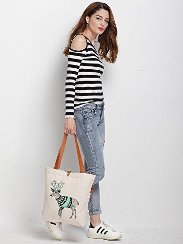 IN.RHAN Women's Deer Illustration Canvas Handbag Tote Bag Shoulder Bag