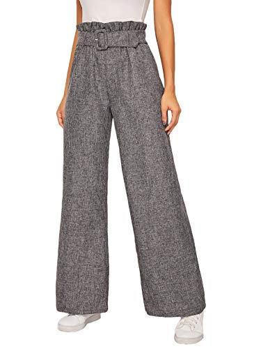 SOLY HUX Women's Ruffle Trim Belted Paper Bag High Waist Wide Leg Loose Pants Grey S