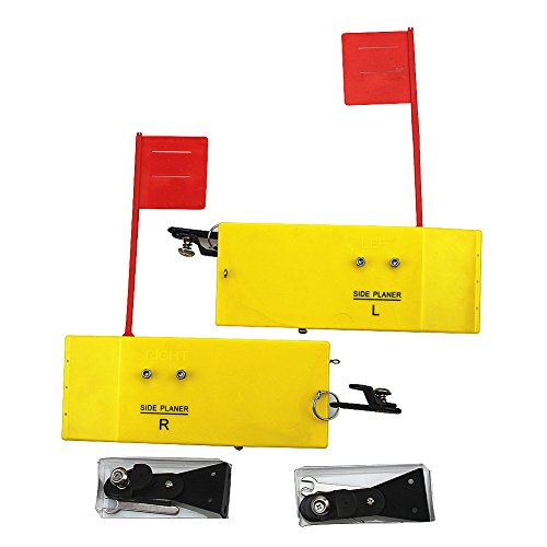 "Krazywolf Planer Board (P007,P009),Includes Spring Flag system,Left&Right L8""xW3"",L10""Xw3.5"",Pair,Yellow"