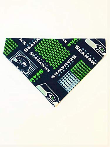 Seattle Seahawks Dog Bandana No-Tie Design