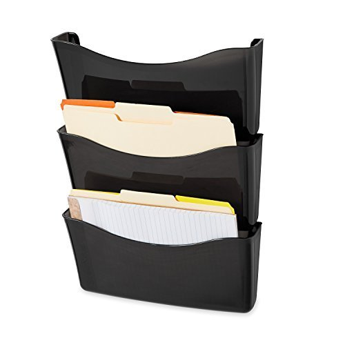 UPC 644766089420, Rubbermaid 65974 Unbreakable expandable three-pocket wall file set, letter size, smoke (4-Pack)