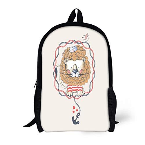 Baby School High Tee - Pinbeam Backpack Travel Daypack Navy Adventure Lion Sailor Kid Baby Tee Travel Waterproof School Bag