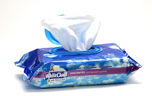 White Cloud Unscented Baby Wipes 8 packs per carton