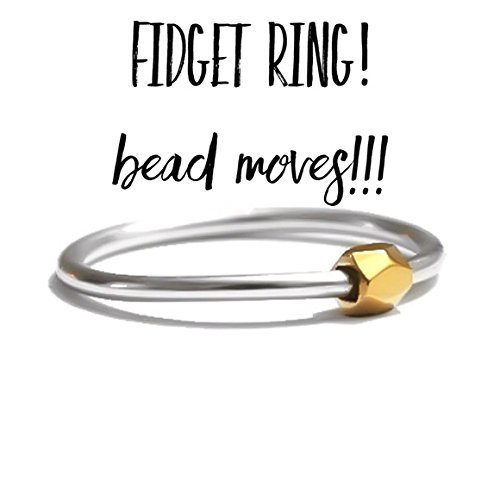 Fine Sterling Silver Worry Ring Fidget Anxiety Ring Faceted Gold Bead Slider Sizes 2 3 4 5 6 7 8 9 10 11 12 13