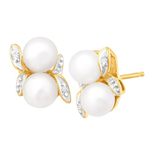 Freshwater Cultured Pearl Bud Stud Earrings with Diamonds in 10K Gold