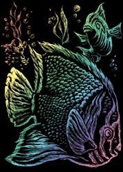 "Bulk Buy: Royal Brush Mini Rainbow Foil Engraving Art Kit 5""X7"" Tropical Fish RAIMIN-101 (6-Pack)"