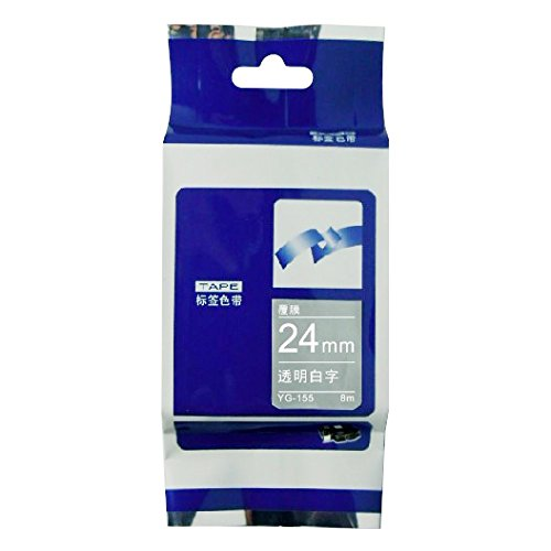 Compatible for Brother Tze Label Tape Label Maker Cartriges 24mm White on Clear Tze-155 P-touch Label Printer