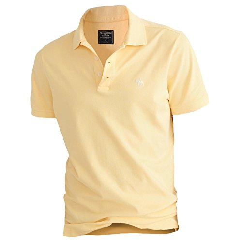 Abercrombie Mens Stretch Signature Fit Icon Polo Shirt Tee  S  Yellow