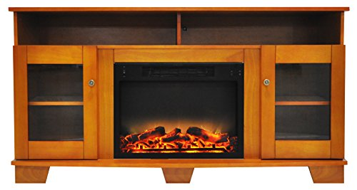Cambridge CAM6022-1TEKLG2 Savona 59 In. Electric Fireplace in Teak with Entertainment Stand and Enhanced Log -