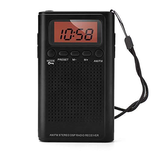 Horologe AM FM Pocket Radio, Portable Alarm Clock Radio with Time, Alarm, Radio, Digital Display,Stereo Mode and Including Battery (Stereo Alarm)