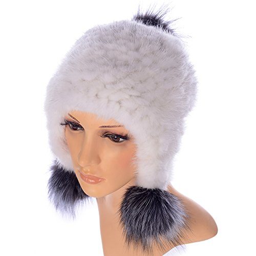 Ysting Women's Knit Mink Fur Hat Fur Hats Wheat Knit Mink Fur Winter Cap with Pompoms