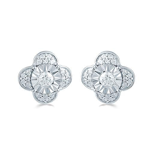Fifth and Fine 3/8ct tw Diamond Floral Cluster Fashion Stud Earring in Sterling Silver