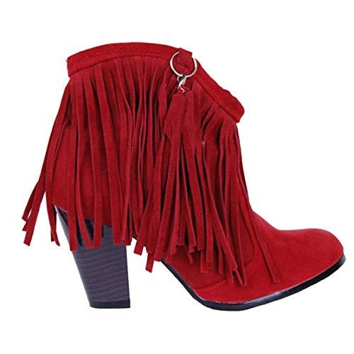Tacco Le Frange Camoscio Eleganti Stivali Cono YE Rossa Donna 8cm a con Scarpe tTp1wnSUxq