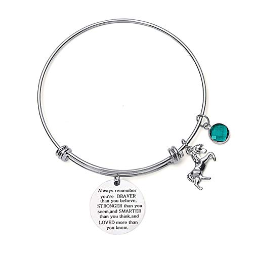Inspirational Jewelry Birthstone Bracelet for Girls Women, Stainless Steel Expandable Wire Bangle, Engraved with Always Remember You are Braver (August)