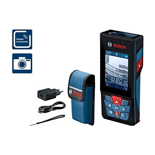 chollos oferta descuentos barato Bosch Professional Medidor láser de distancia GLM 120 C cámara integrada transmisión de datos Bluetooth máx distancia 120 m cable micro USB cargador correa de transporte funda