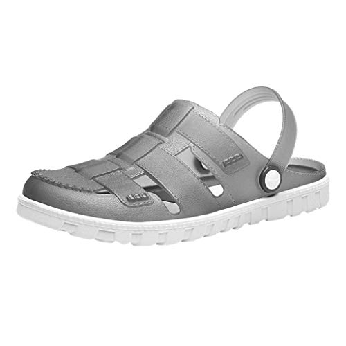ANJUNIE Men's Comfort Slip On Casual Water Shoe Classic Clog Slippers Beach Shoes Outdoor Slides Sandals(Gray,41)