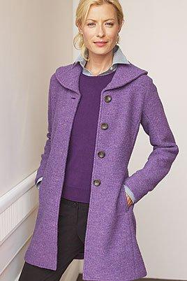 Women&39s Regular Long Boiled Wool Jacket (UK Size 16 BLACK