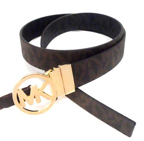 MICHAEL Michael Kors Reversible Belt with Gold-Tone MK Logo, Brown and Black, Large ()