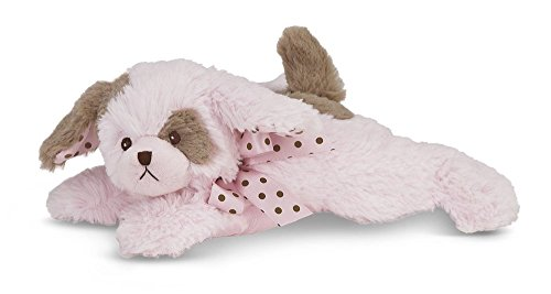 Bearington Baby Wiggles Plush Stuffed Animal Pink Puppy with Rattle, 8 inches