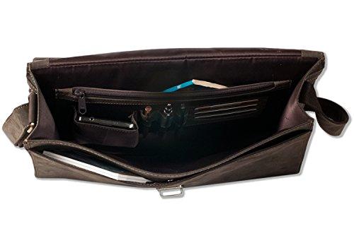 Woodland - Borsa di lusso con scomparto per notebook in pelle di bufalo naturale in marrone scuro / Taupe