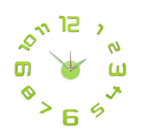 Philip Whitney Green Color Numbers Design Adhesive Diy Modern Wall Clock