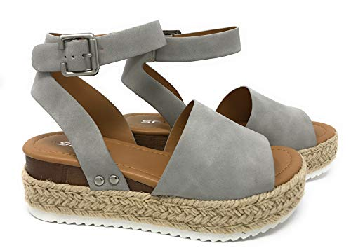 SODA JDTopic Women's Open Toe Ankle Strap Espadrille Sandal (10 M US, Grey) ()