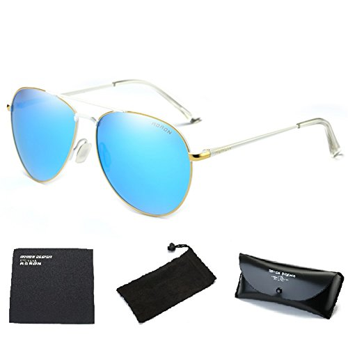 Wonzone Mens Womens Aviator UV400 Polarized Sunglasses with Sun Glasses Case - Aviator White Sunglasses