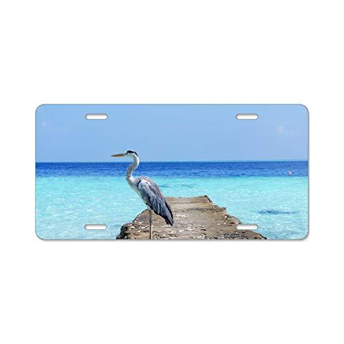 SFHU Customized Aluminum License Plate Frame Holder, Decorative License Plate Frame - Heron Sea Ocean Bird