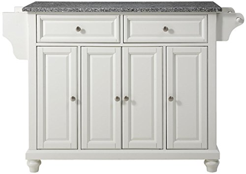 Crosley Furniture Cambridge Kitchen Island with Solid Grey Granite Top - White