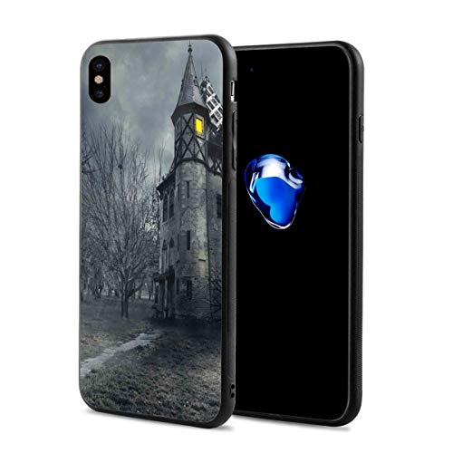 Phone Case Cover Compatible with iPhone X XS,Halloween Design with Gothic Haunted House Dark Sky and Leafless Trees Spooky Theme,Compatible with iPhone X/XS 5.8]()