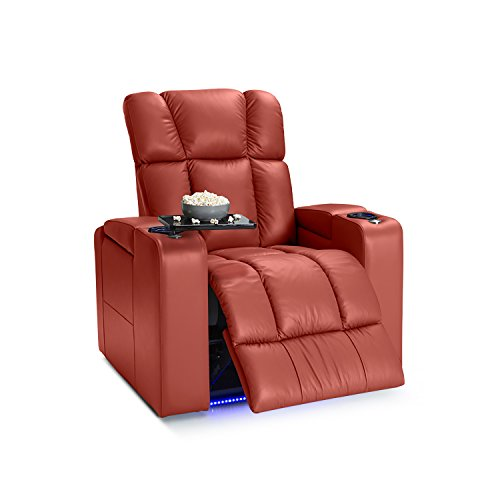 Palliser Collingwood Leather Power Recliner with Adjustable Powered Headrests, In-Arm Storage, and USB Charging, Red by Palliser