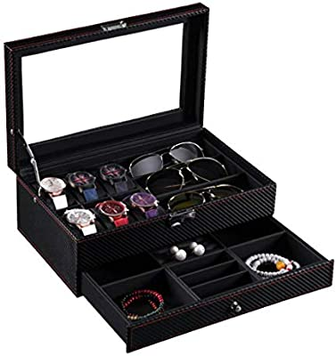 GOVD Caja para Guardar Relojes PU Cuero Estuche para Guardar Relojes con Almohadillas Extraíbles, Negro: Amazon.es: Hogar