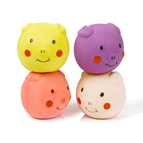 Pig Latex Puppy Toy Soft Rubber Dog Squeaky Toy Squeaky Dog Balls Funny Dog Toys for Puppy Small Pets Dogs 4PCS/Set