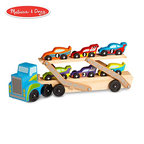 Wooden Car Doug Race - Melissa & Doug Mega Race-Car Carrier