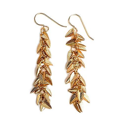 Gold Leaf Fringe Cluster Tassel Earrings