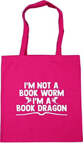HippoWarehouse I'm not a book worm im a book dragon Tote Shopping Gym Beach Bag 42cm x38cm, 10 litres Fuchsia