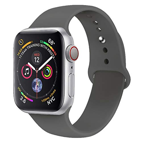 Inozama Compatible with Apple Watch Band, Soft Silicone Sporty Replacement Wrist Strap Band for iWatch Series 4/3/2/1 (42MM/44MM M/L G Grey)