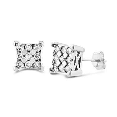 1ff02655e Amazon.com: 10k White Gold 1/4-ct. T.W. Diamond Square Stud Earrings ...