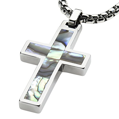 Abalone Cross Pendant (Unique Tungsten Cross Pendant .4mm wide Surgical Stainless Steel Box Chain. Abalone Inlay. 26 inch chain. PT1K-MOP26)