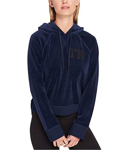 Tommy Hilfiger Sport Women's Velour Logo Hoodie (Navy, X-Large)