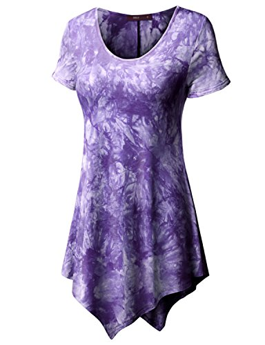 - Doublju Scoop Neck Solid/Tie Dye Tunic Top With Asymmetrical For Women With Plus Size Purple X Small