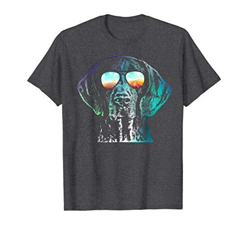 Mens German Shorthaired Pointer Neon Dog Shirt Large Dark Heather