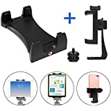 WBGD 【A Set】 360° Rotatable iPad Tripod Mount Adapter Holder and Phone Tripod Mount, Tablet Mount Compatible with iPad Air Pro Min, Microsoft Surface, Nexus,for Tripod,Monopod,Selfie Stick,Tabletop