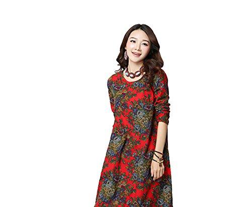 sole Fiore Tasche Del I Vestiti Con Manicotto Lungo D Formato Più Delle Il Blu Stampato amp; Rosso Donne rgSnx6qr8t