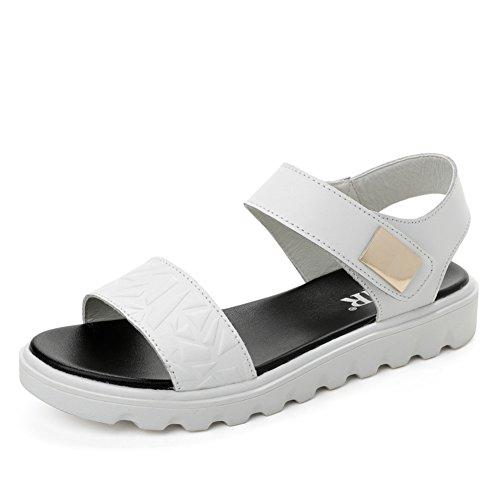Mujeres de sandalias de cuero planas de verano/Versión coreana de las sandalias planas simples Joker/Chao contra deslizarse embarazadas zapatos A