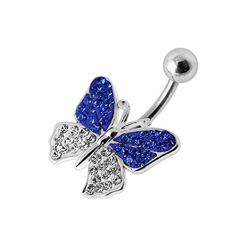 Blue Sapphire Multi Crystal Stone Butterfly Design 925 Sterling Silver Belly Button Piercing Ring Jewelry