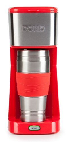 Domo-DO438K-Cafetera-Independiente-Drip-coffee-maker-De-caf-molido-Rojo-Acero-inoxidable-Acero-inoxidable-Caf