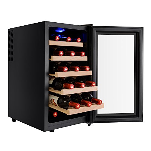 AKDY 18 Bottles Freestanding Single Zone Thermoelectric Wood Shelf Wine Cooler Chiller Refrigerator