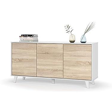 Habitdesign-Aparador-Buffet-Salon-Comedor-3-Puertas-Modelo-Zaiken-Plus-Color-Blanco-Brillo-y-Roble-Canadian-Medidas-154-cm-Ancho-x-75-cm-Alto-x-41-cm-Fondo