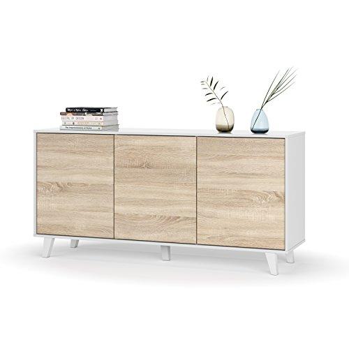 Habitdesign 0F6638BO - Buffet de salon/salle à manger 3 portes blanc brillant/chêne (154 x 75 x 41 cm)